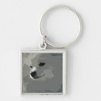 Chaveiro branco de Pomeranian