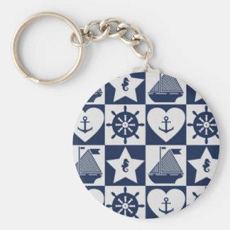 Chaveiro Branco náutico dos azuis marinhos checkered