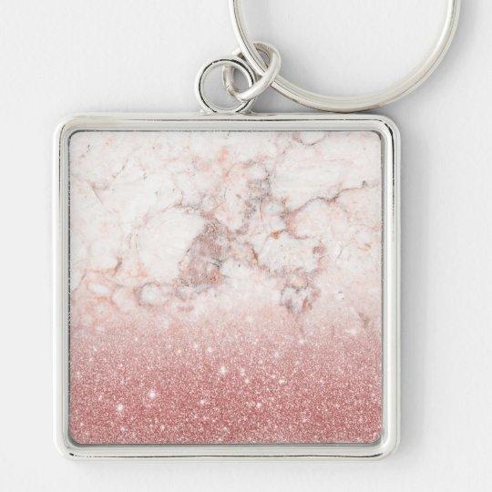 Chaveiro Brilho cor-de-rosa Ombre de mármore branco do ouro