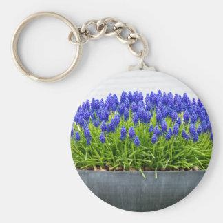 Chaveiro Caixa cinzenta da flor do metal com os jacintos de