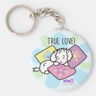 Chaveiro Cão branco macio pequeno do amor verdadeiro