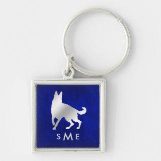 Chaveiro Cão de german shepherd de prata azul do monograma