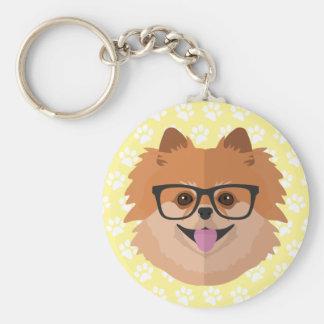 Chaveiro Cão de Pomeranian no presente bonito do hipster