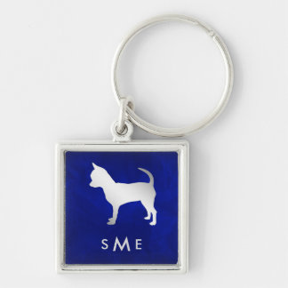 Chaveiro Cão de prata azul da chihuahua do monograma