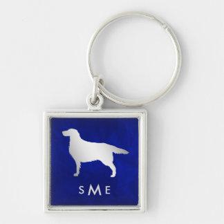 Chaveiro Cão de prata azul do setter do monograma