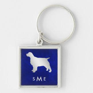 Chaveiro Cão de prata azul do Spaniel do monograma