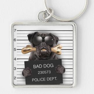 Chaveiro Cão do Mugshot, pug engraçado, pug