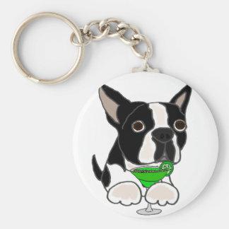 Chaveiro Cão engraçado de Boston Terrier que bebe Margarita