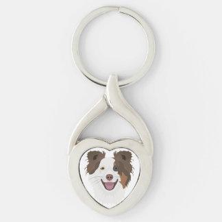 Chaveiro Cara feliz border collie dos cães da ilustração