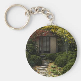 Chaveiro Casa e jardim japoneses de chá no outono