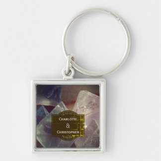 Chaveiro Casamento personalizado pedra preciosa da fluorite