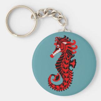 Chaveiro Cavalo marinho vermelho e preto