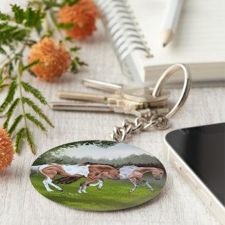 Chaveiro Cavalos da pintura de Tobiano do Buckskin