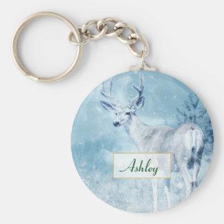 Chaveiro Cervos e pinheiros do inverno personalizados