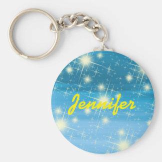Chaveiro Céu azul personalizado com estrelas de brilho