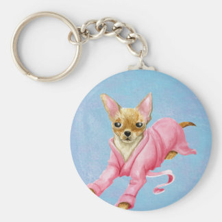 Chaveiro Chihuahua em uma corrente chave do cão do Bathrobe