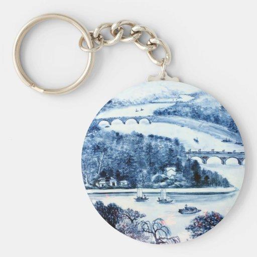 chaveiro chinês da imagem da porcelana do vintage