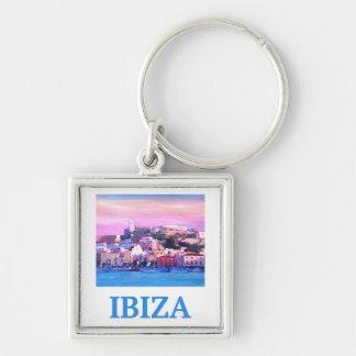 Chaveiro Cidade e porto velhos de Ibiza do poster retro