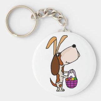 Chaveiro Coelhinho da Páscoa engraçado do cão de Basset