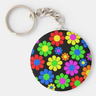 Chaveiro Colagem da flor do hippy