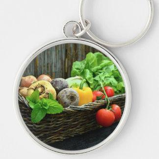 Chaveiro Colheita vegetal da acção de graças em uma cesta