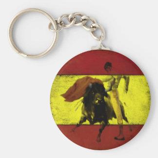 Chaveiro com Bullfight na bandeira espanhola suja