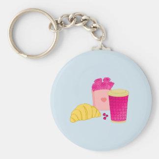Chaveiro com design cor-de-rosa do pequeno almoço