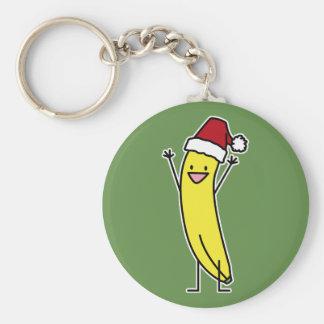 Chaveiro Comemoração do chapéu do papai noel da banana e