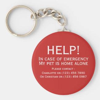 Chaveiro Contato sozinho da emergência da casa do animal de