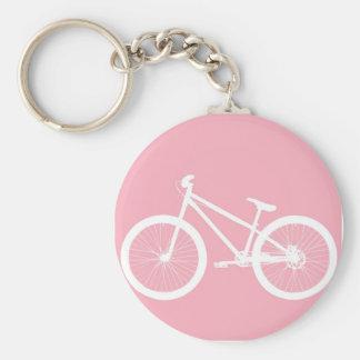 Chaveiro cor-de-rosa e branco da bicicleta do