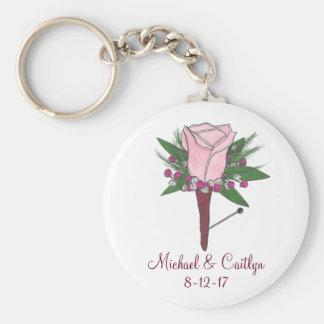 Chaveiro cor-de-rosa personalizado do casamento do