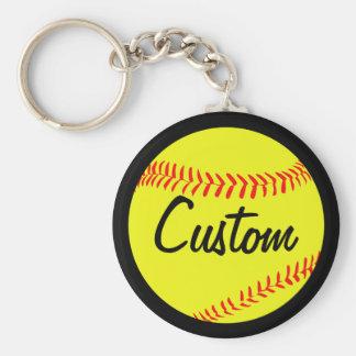 Chaveiro Cor do softball de Fastpitch & texto pretos ou