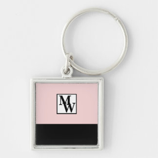 Chaveiro Cora chique cor-de-rosa e preto o monograma