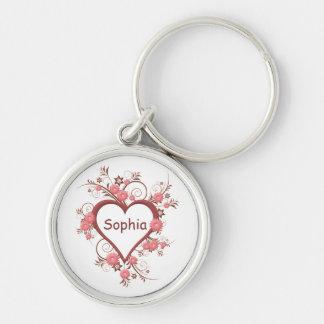 Chaveiro Coração aberto empoeirado do rosa cor-de-rosa com