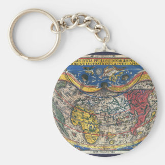 Chaveiro Coração antigo mapa do mundo dado forma por Peter