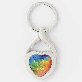 Chaveiro Coração bonito do arco-íris da aguarela