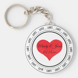Chaveiro Coração vermelho da arte da palavra do amor