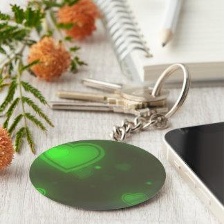 Chaveiro Corações verdes de néon da bolha do brilho