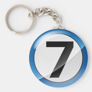Chaveiro Corrente chave azul do número 7