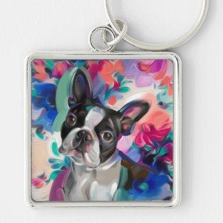Chaveiro Corrente chave da arte do cão de Boston Terrier da
