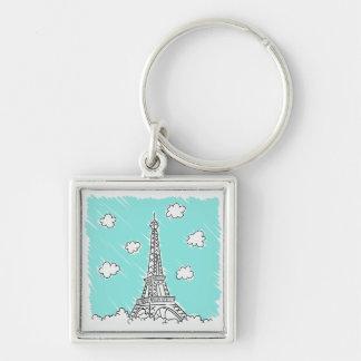 Chaveiro Corrente chave da ilustração da torre Eiffel