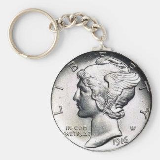 Chaveiro Corrente chave da moeda de dez centavos de Mercury