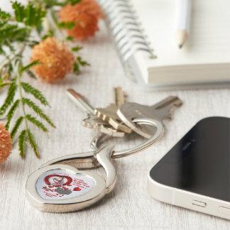 Chaveiro Corrente chave dada forma coração do metal de