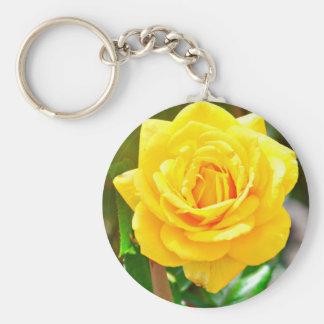 Chaveiro Corrente chave de rosa amarelo