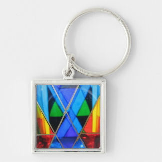 Chaveiro Corrente chave--Diamante azul de vidro de Murano
