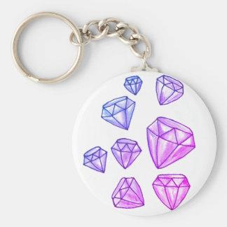 Chaveiro Corrente chave do botão do diamante do brilho
