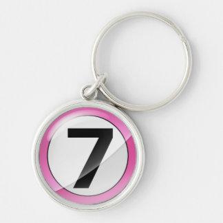Chaveiro Corrente chave superior cor-de-rosa do número 7