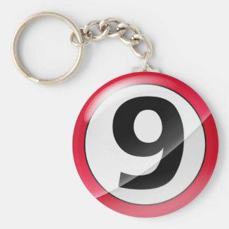 Chaveiro Corrente chave vermelha do número 9