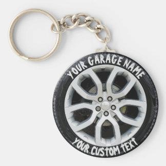 Chaveiro Costume da roda do pneu do proprietário da garagem