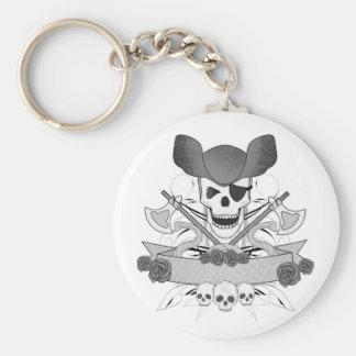 Chaveiro crânio do pirata com cobras e rosas